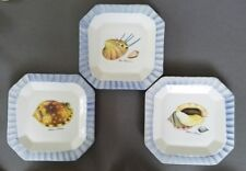 "Ceramica Due Torri Italy Set of 3 9 1/2"" Square Plates Sea Shells Blue Trim"