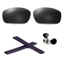 Walleva Polarized Black Lenses And Rubber Kit And Bolts For Oakley Jawbone