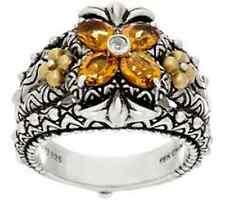 NEW Barbara Bixby Sterling Silver & 18K Gold Gemstone Flower Ring CITRINE SIZE 7