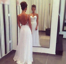 Backless Spaghetti Beach Wedding Dress Tulle Bridal Gown Custom Size 2 4 6 8 10+