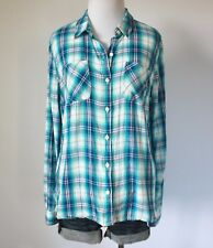 MOSSIMO Plaid Checkered Utility Pockets Button Down Collar T Shirt Top Blouse L
