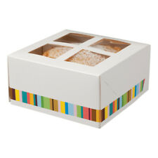 Four Cupcake Box with Window Stripe Design Cake Birthday Party Weddings Catering