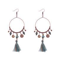 Vintage Bohemian Copper Hook Round Long String Tassel Beads Drop Dangle Earrings