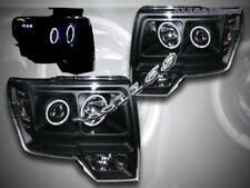 09 10 11 FORD F150 CCFL TWIN HALO LED BLACK PROJECTOR HEADLIGHTS