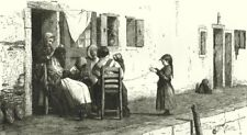 VENICE. Street scene. Family 1877 old antique vintage print picture