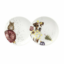 Royal Worcester Wrendale Dog and Mouse - Set of 2 Tea Plates- 20cm / 8 inch