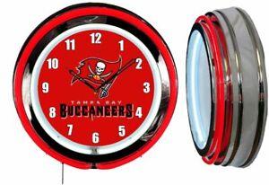 "Tampa Bay Buccaneers 19"" Red Neon Clock Man Cave Game Room Garage Bucs White Num"