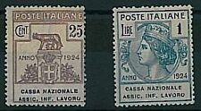 Varietà  ITALIA REGNO:  2 francobolli PARASTATALI con piccola Varietà