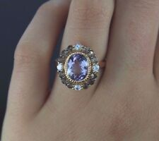 $2,200 LeVian Pink Amethyst Smoky Quartz White Sapphire 14K Rose Gold Ring Band