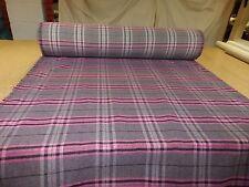 PURPLE / PINK - Tartan Check WOOL EFFECT Upholstery / Curtain Fabric