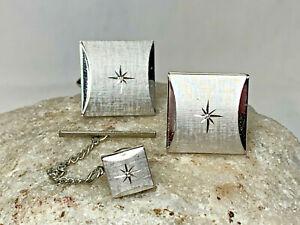 Classy Swank Diamond Cut Starburst Cuff Links & Tie Pin Jewelry Silvertone