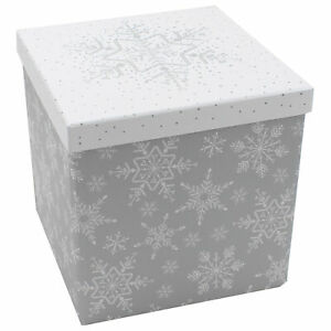 Christmas Gift Box with Lift off Lid - Silver White Snowflake - Choose Size