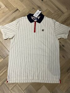 Fila Vintage Men's BB1 Borg Stripe Polo Shirt White