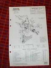 BEDFORD 12 hp CA VAN  ZENITH 30 VIG-11 CARBURETTER PARTS LIST TECHNICAL1955