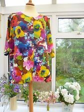"GORGEOUS ""MARIA DAHLHOFF"" QUIRKY MULTI-COLOURED LINEN OVERSIZE JACKET PLUS SIZE"
