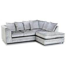 ORIGINAL DYLAN CHICAGO CRUSHED VELVET SILVER CORNER CHEAP SALE PRICE SOFA SETTEE
