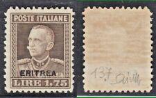 COLONIE ERITREA 1928-29 EFFIGE VITT EMANUELE III° SOPRAST 1,75 MNH**