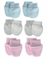 Newborn Baby Anti Scratch Mittens, Blue, Pink, White, 100% Cotton, 1Pair Pack