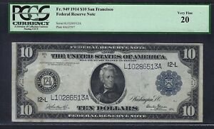 """1914 $10 FRN FR-949 """"SAN FRANCISCO"""" ♚♚BURKE&GLASS♚♚ PCGS VF20   ONLY 44 KNOWN!!!"""