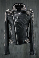 New Mens Black  Punk Unique Full Silver Spiked Studded Cowhide Leather Jacket