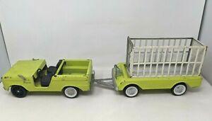 VTG Nylint Pressed Steel Green Ford Bronco Safari Hunt Trailer Truck Toy DD21