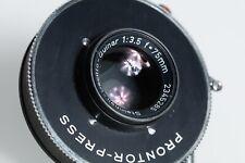 Steinheil Oscillo Quinar 3,5/75 mm. Prontor Press Shutter.