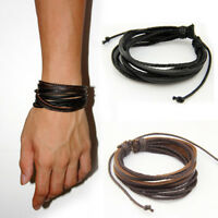 Fashion Jewelry Multilayer Leather Brace Bracelet Casual Gothic Style Men Women