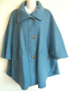 NWT BOYNE VALLEY WEAVERS HANDCRAFTED IN IRELAND 100% LAMBSWOOL BLUE CAPE COAT L