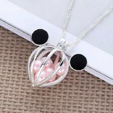 New listing New Disney Mickey Mouse Ears Silver Plated Pearl Pink Beads Cage Necklace