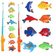 Educational Fish Game Magnetic Fishing Pole Rod Fish Model Set Kids Toy Gift #A