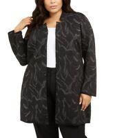 Alfani Women's 2x Plus Size Metallic Jacquard Long Jacket, Black, $120, NwT