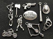 10 x Walking Dead Charms-Zombie Baseball Bat Pistolet squelette Crossbow Chapeau Hache