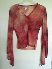 Women Rave  Semi Sheer Embellished  Long sleeve Top Shirt Sz S