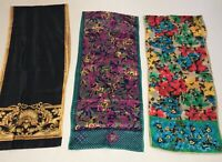 Lot of 3 Rectangle Silk Scarves 1 is Acute 2 Unknown
