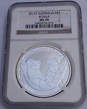 Australia 2011 P S$1 Silver Koala NGC MS-70 Australian Coin Bullion Brown Label