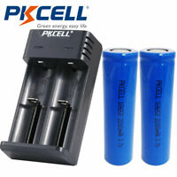 2X 18650 Lithium Rechargeable Batteries 2200mAh 3.7V Flat Top with 2Slot Charger