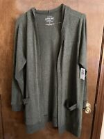 Torrid Size 2 Olive Green Open Front Hooded Cardigan Sweater NWT
