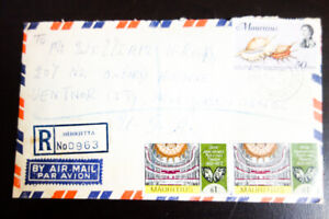 Mauritius Stamps Cover Sent registered to NJ back stamped 4 times