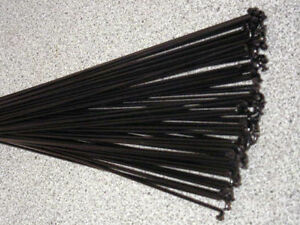 36 Custom length 12g (2.6mm) Black Stainless spokes with Silver Brass nipples