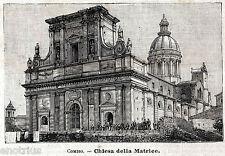 COMISO: Duomo nel 1902, senza Torre Campanaria.Ragusa.Sicilia.Stampa Antica.1902