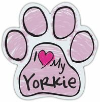 Pink Scribble Paws: I LOVE MY YORKIE (YORKSHIRE TERRIER)   Dog Paw Car Magnets