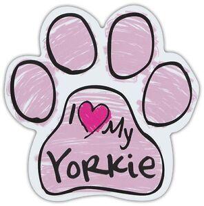 Pink Zeichnen Pfoten: I Love My Yorkie (Yorkshire Terrier) Hund Pfote Auto