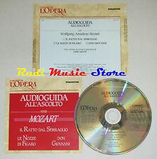 CD MOZART Audioguida all'ascolto IL RATTO DEL SERRAGLIO NOZZE FIGARO lp mc dvd