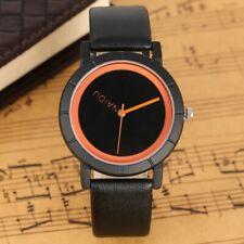 NAIDU Minimalist Stylish Mens Boys Sport Quartz Wrist Watch Black Leather Strap