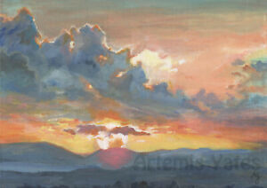 Dramatic Sky, Clouds, Sunset, Nature, Landscape Painting Wall Art, Art Print, A4
