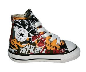 Baby Boys Converse All Star Graffiti High Top Trainers Sneakers Size UK 4