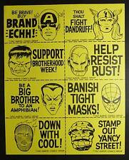 1967 MMMS VINTAGE FUN CLUB STICKER SHEET MERRY MARVEL MARVELMANIA SOCIETY