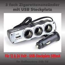 3-fach Zigarettenanzünder 12V 24V Verteiler USB 500mA Adapter 12 Volt Steckdose