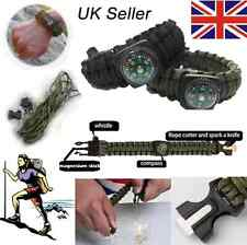 Paracord Survival Bracelet Whistle Flint Scraper Fire Starter Striker Compass UK