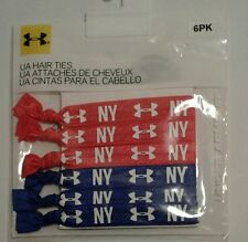 "WOMENS 6 PACK UNDER ARMOUR HAIR TIES ""NY"" 3 PAIR RED 3 PAIR BLUE ONE SIZE 1045"